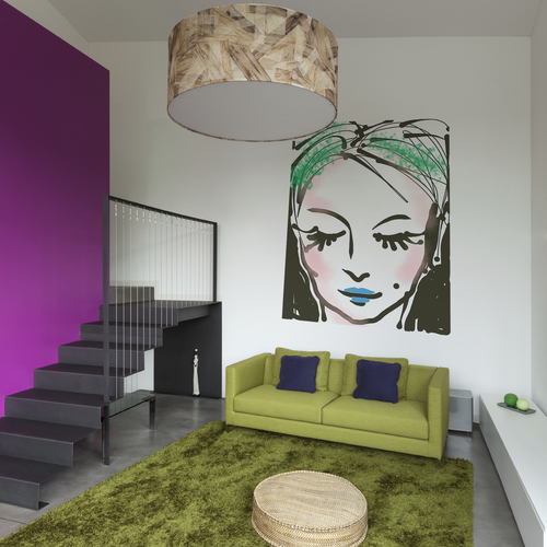 Thumb electric green print or projection on a wall in a whimsical apartment